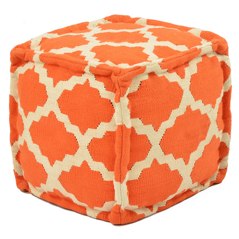 "Trellis 16"" Pouf, Orange"