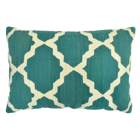 "Trellis 16"" x 24"" Pillow, Teal"