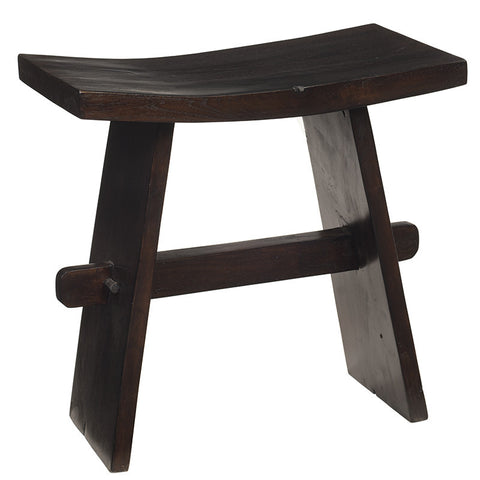 Scooped Apron Stool, Dark Brown