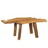 Teak Slab Coffee Table with Teak Legs, Honey
