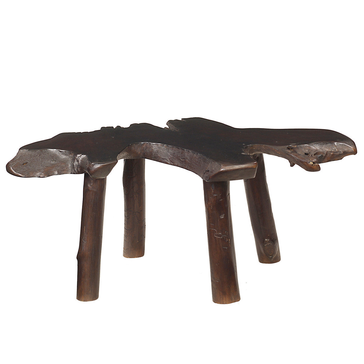 Teak Slab Coffee Table with Teak Legs, Dark Brown ...