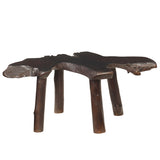 Teak Slab Coffee Table with Teak Legs, Dark Brown