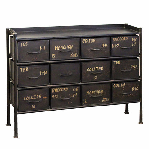 Iron 12 Drawer Chest, Black