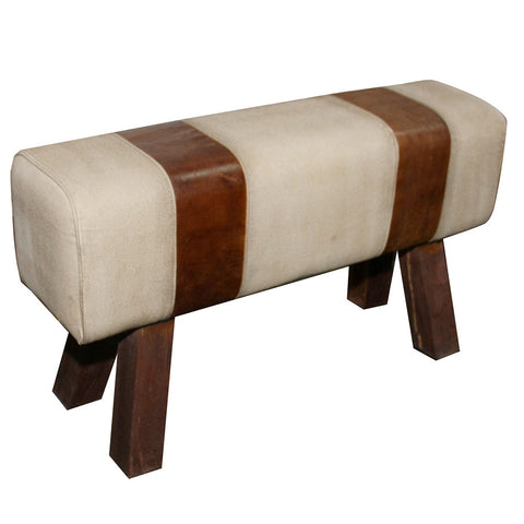 Leather and Canvas Long Bench