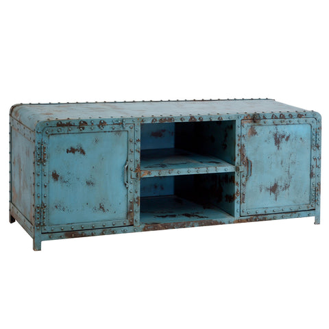 Painted Iron TV Stand, Bright Blue