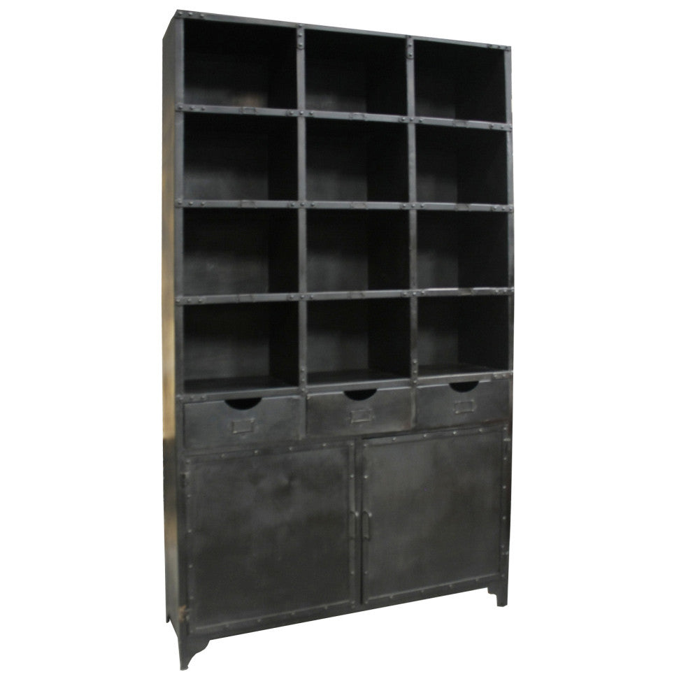 bookcase iron shelving wood industrial beckett shelf pin high style bookcases and