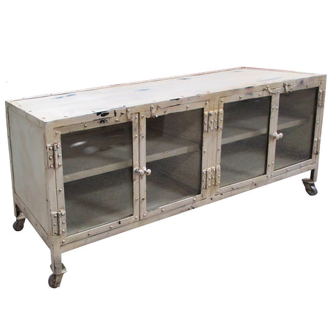 Monica Industrial Media Stand, Industrial White