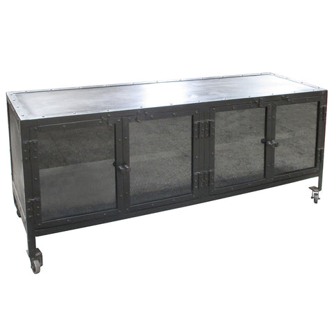 Monica Industrial Media Stand, Dark Finish
