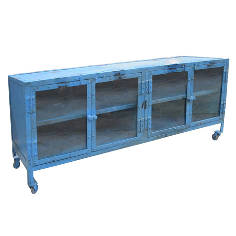 Monica Industrial Media Stand, Blue