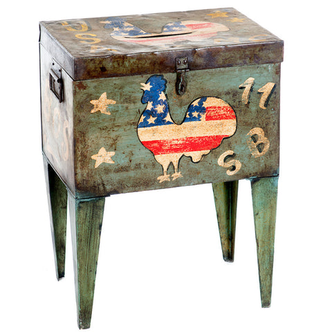 Postmaster Box End Table, Rooster Flag