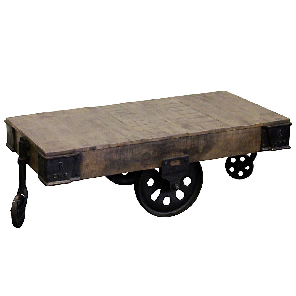 Gondorian Iron And Wood Coffee Table On Wheels Wrightwood Furniture
