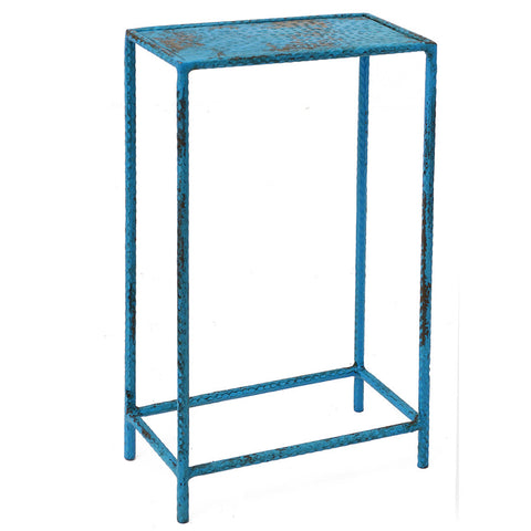 Little Hammered Iron Side Table, Turquoise