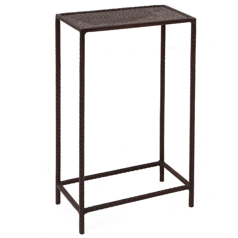 Little Hammered Iron Side Table, Acid Finish