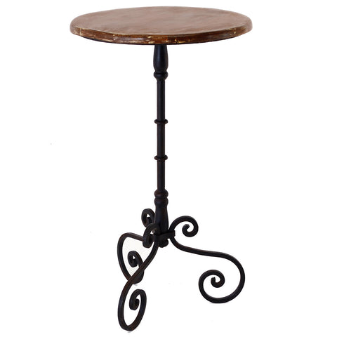 Scrolled Iron Pedestal Table, Black Wash Metal with Limewash Wood Top