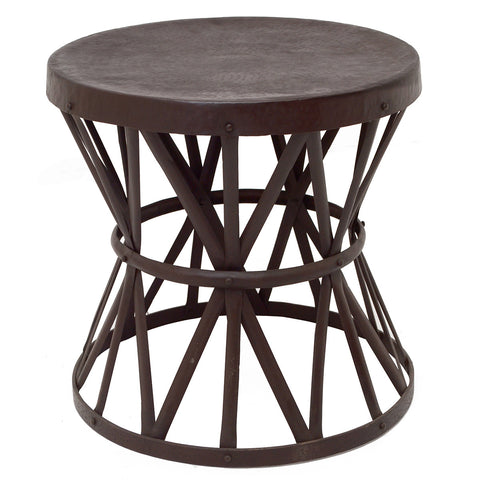 Iron Weave Side Table, Acid Wash