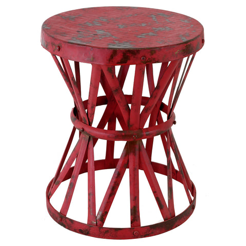 Drum Table, Red Antique