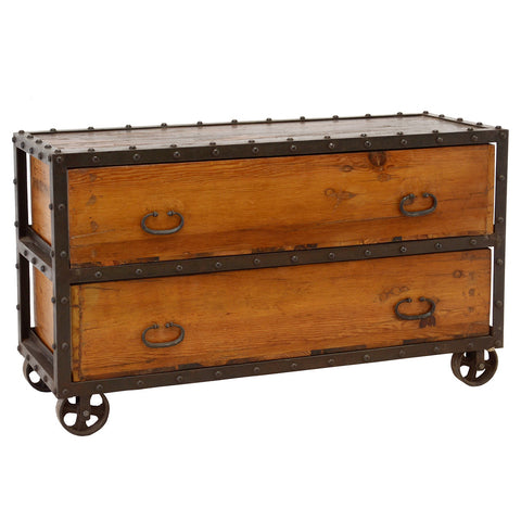 Recycled Wood and Iron Sideboard, Black Wash Metal