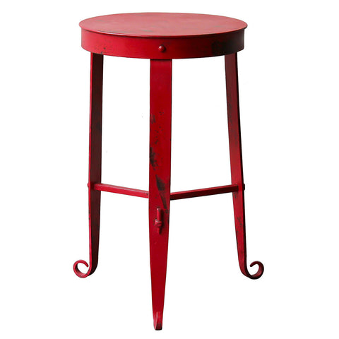 Nice Little Stool / Side Table, Red