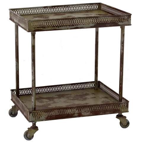 "Good Size Metal Trolley 24"" High, Gray Wash"