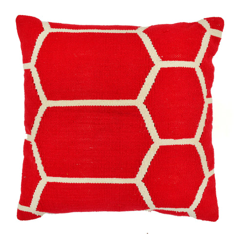 "Hexagon Pillow 20"" x 20"", Red"