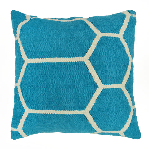 "Hexagon Pillow 20"" x 20"", Turquoise"