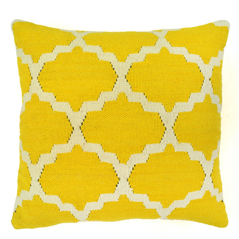"Trellis 20"" x 20"" Pillow, Yellow"