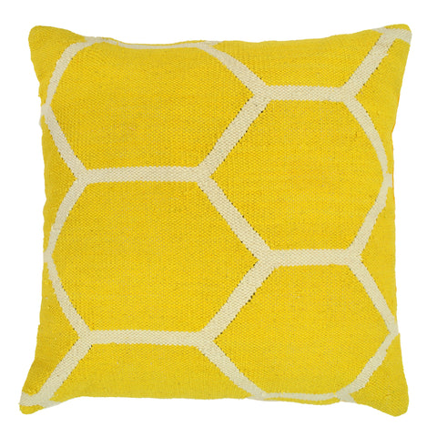 "Hexagon Pillow 20"" x 20"", Yellow"