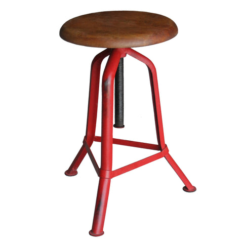 Fernton Iron & Wood Stool, Red