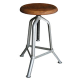 Fernton Iron & Wood Stool, Antique Silver