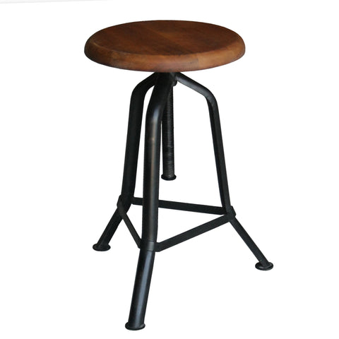 Fernton Iron Wood Stool, Black