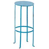 Entika Antiqued Metal Table Large, Turquoise