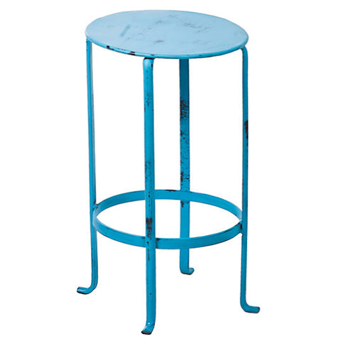 Entika Antiqued Metal Table Small, Turquoise