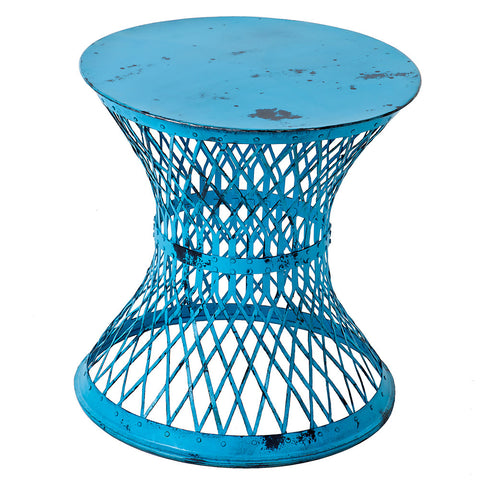 Bunana Metal Weave Table, Turquoise