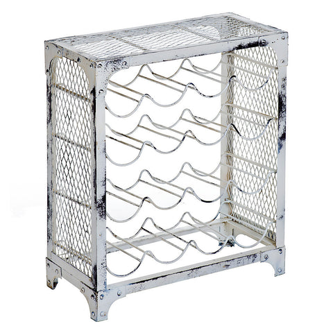 Maximus Iron Wine Rack, Whitewash