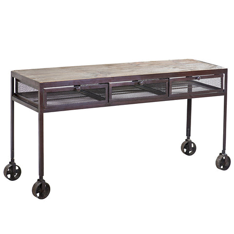 Proximo Industrial Wood and Iron Desk, Acid Wash with Limewash