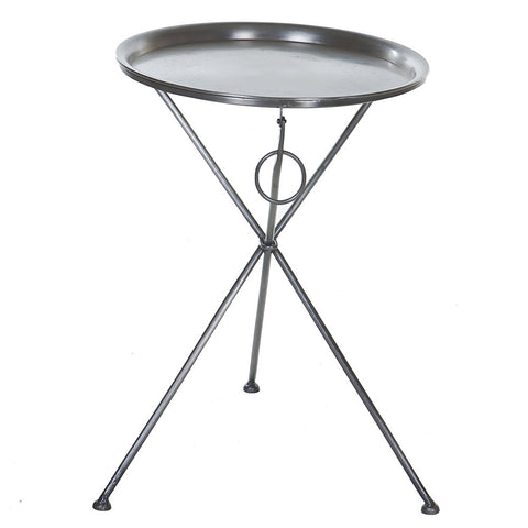 Gauis Folding Side Table, Antique Nickel