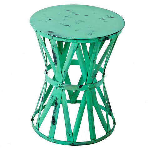Roman Iron Stool, Green Wash