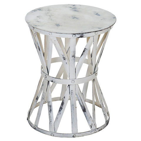 Roman Iron Stool, Whitewash