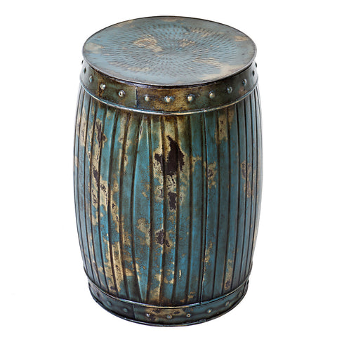 Valerius Iron Stool, Antique Brass & Teal