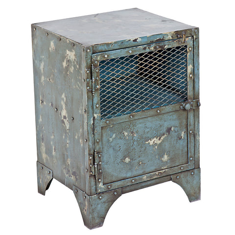 Cassius Iron Bedside Table, Distressed Swedish Blue