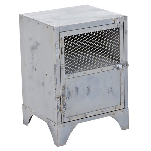 Cassius Iron Bedside Table / End Table, Gray Wash