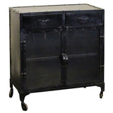 Eomer Iron & Glass Cabinet, Black