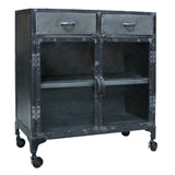 Eomer Iron & Glass Cabinet, Natural Antique