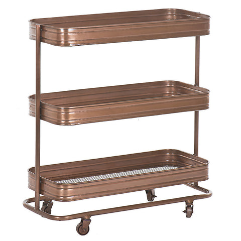 Trali 3 Shelf Iron Industrial Trolley, Copper