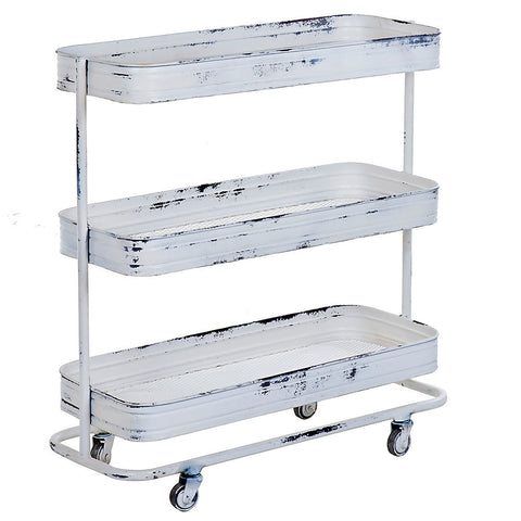 Trali 3 Shelf Iron Industrial Trolley, Whitewash