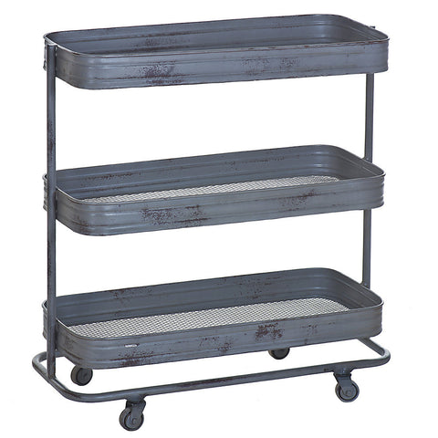 Trali 3 Shelf Iron Industrial Trolley, Gray Wash