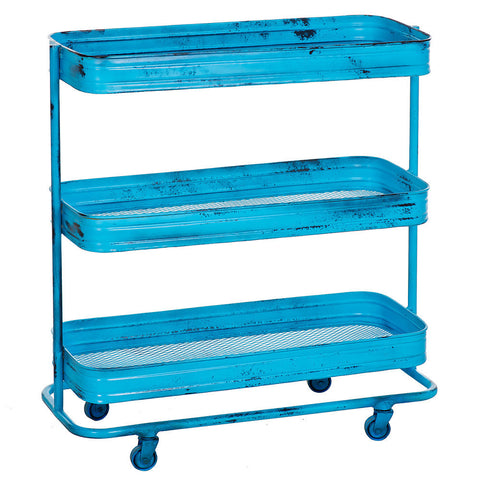 Trali 3 Shelf Iron Industrial Trolley, Turquoise
