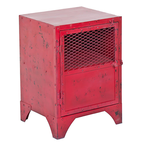 Cassius Iron Bedside Table / End Table, Red