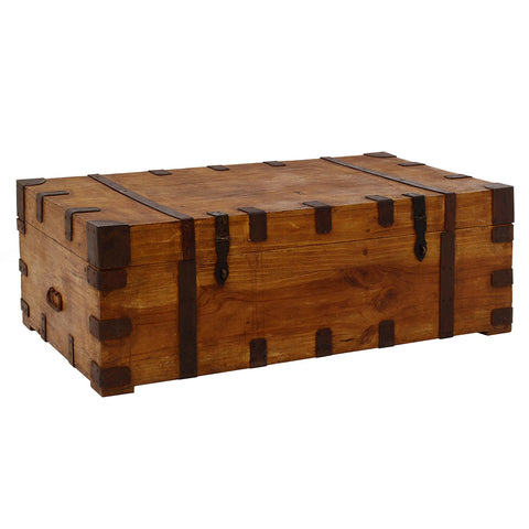Wooden Trunk with Metal Straps