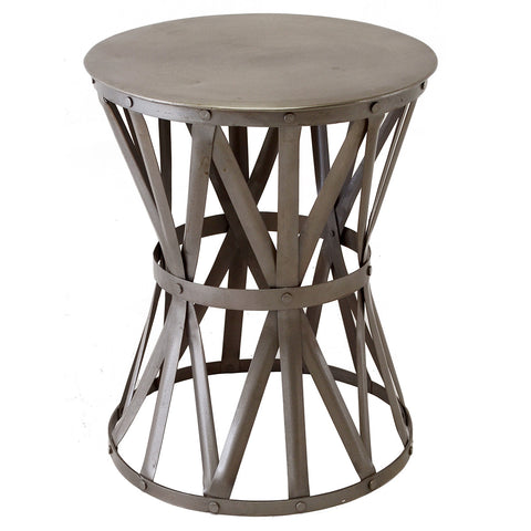 Riveted Drum Table, Aluminum